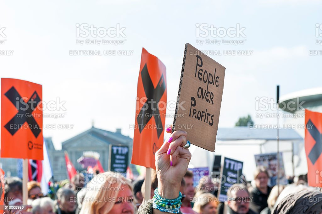 Anti TTIP protest with personal notes stock photo