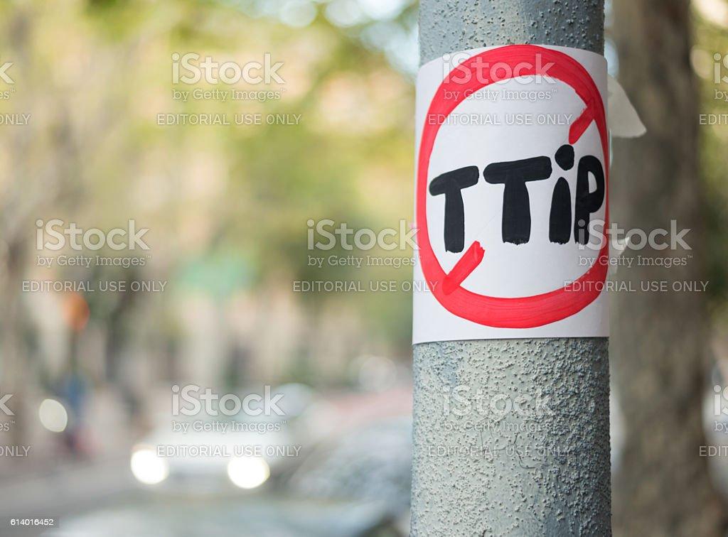 Anti TTIP Sign in Barcelona stock photo
