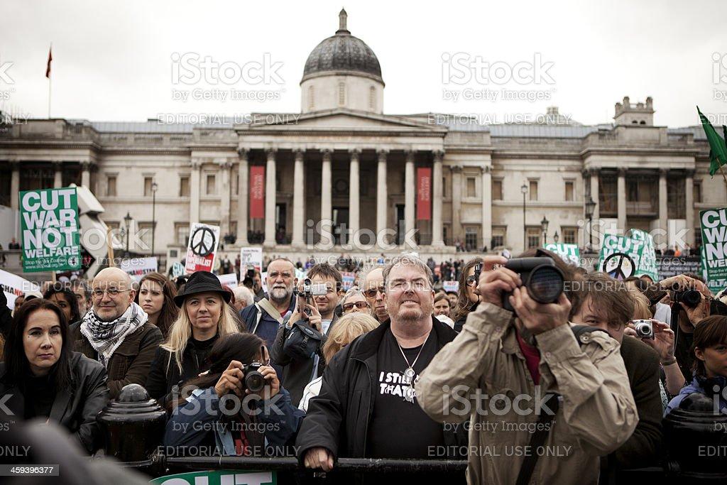 Anti War crowd, Trafalgar Square, London. stock photo