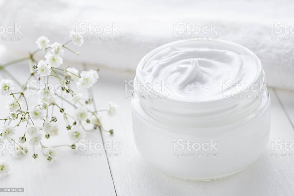 Anti wrinkle anti-aging cosmetic cream skincare and face care stock photo