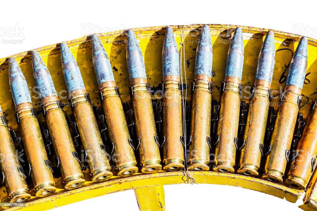 Anti-aircraft artillery cartridges stock photo