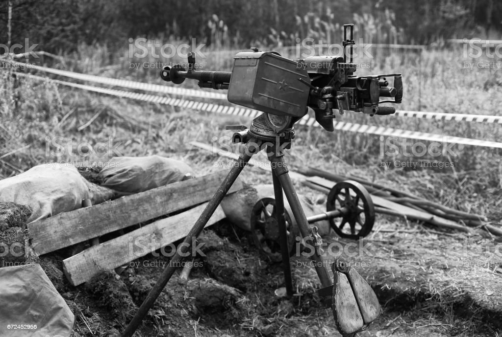 Anti-aircraft guns, authentic machine gun during the second world war stock photo