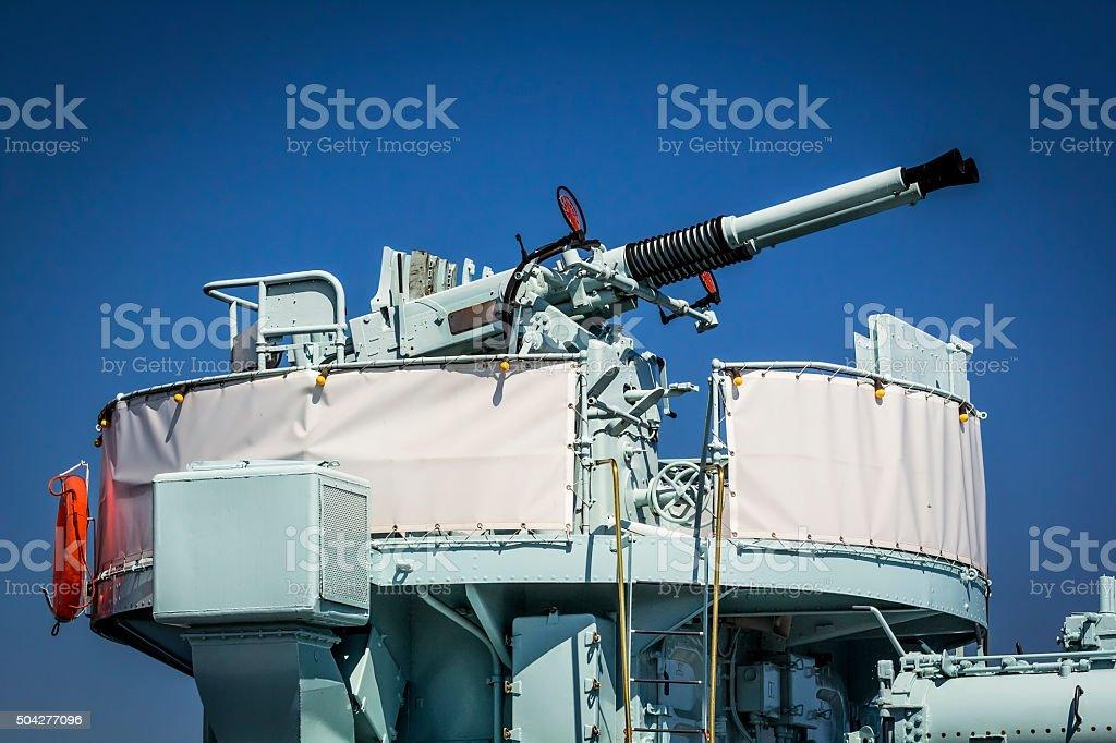Anti-aircraft guns stock photo