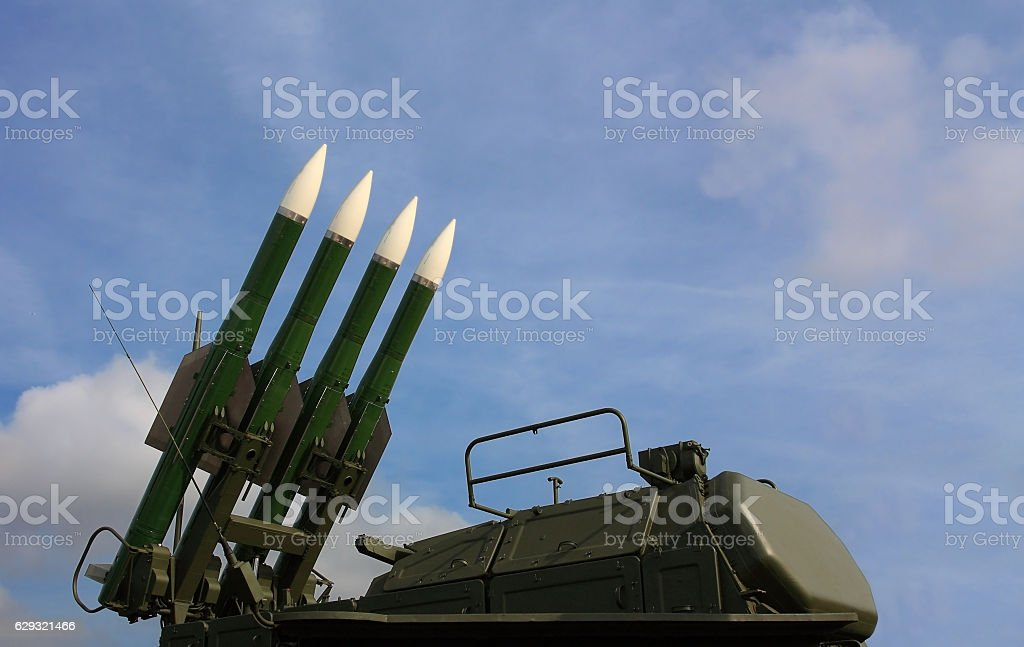 Anti-aircraft missile system stock photo
