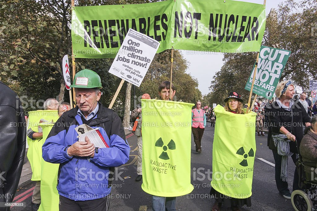 Anti-Austerity March in London, England stock photo