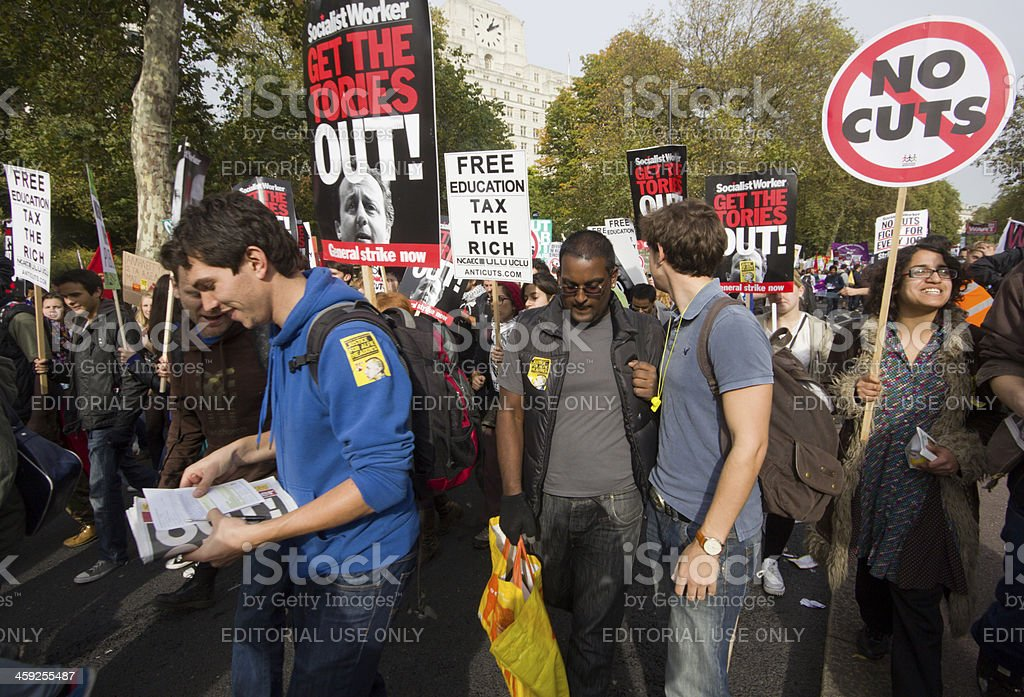 'Anti-Austerity March in London, England' stock photo