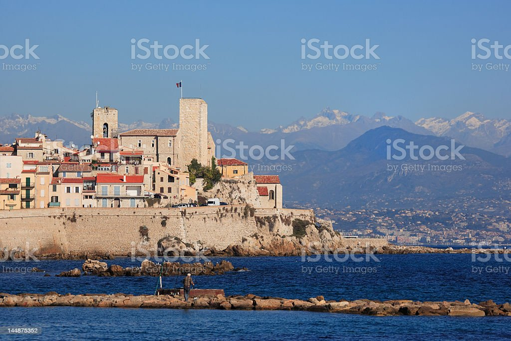 Antibes cityscape and mediterranean coast, French Riviera stock photo