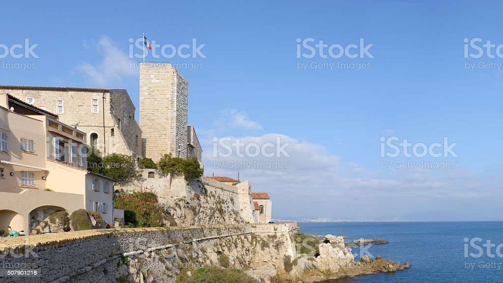 Antibes Old Town and Mediterranean Sea Panorama stock photo