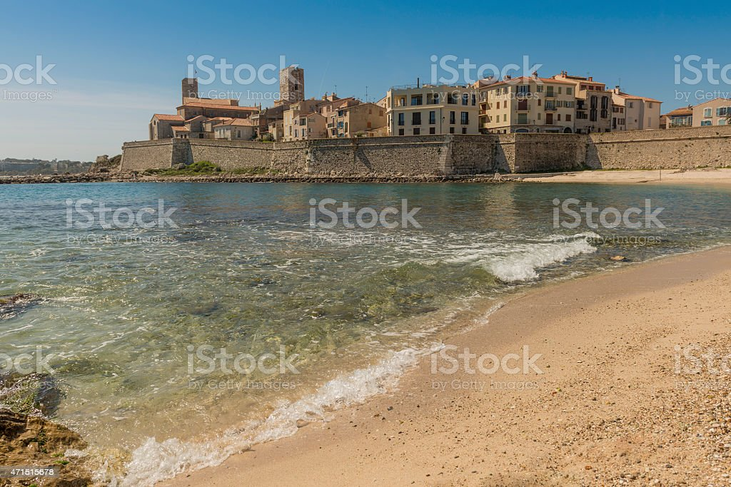 Antibes old town from Plage de la Gravette beach stock photo