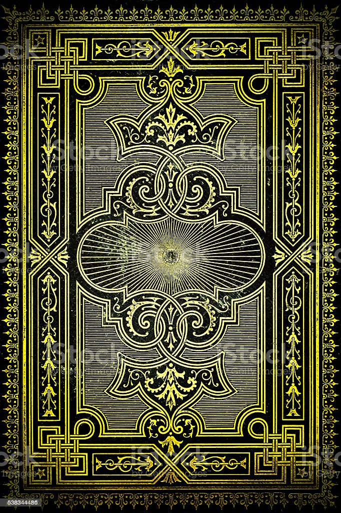 Antic book cover with beautiful gold ornaments stock photo