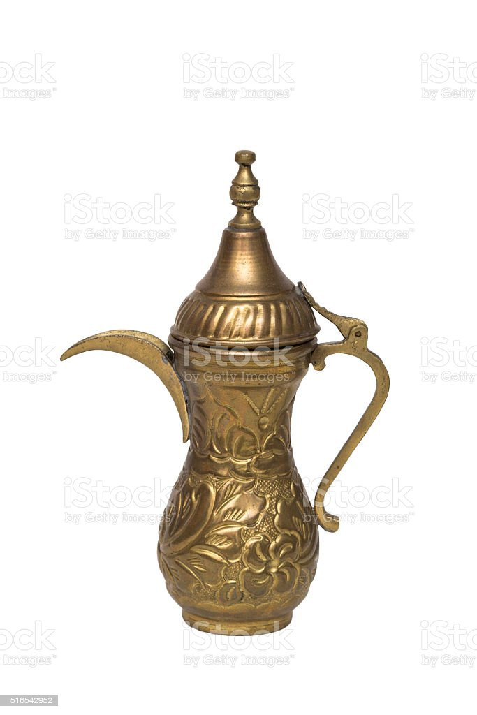 Antic engraved metal vase with opening lid in oriental style stock photo