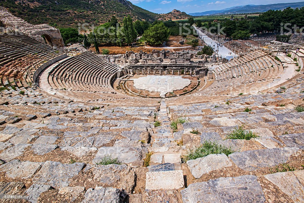 Antic theater in Ephesus, Anatolia, Turkey .  Coliseum stock photo