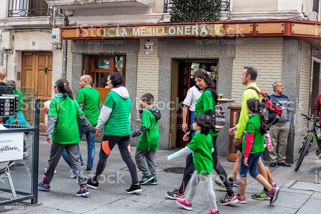Anti-cancer march in downtown of Burgos stock photo
