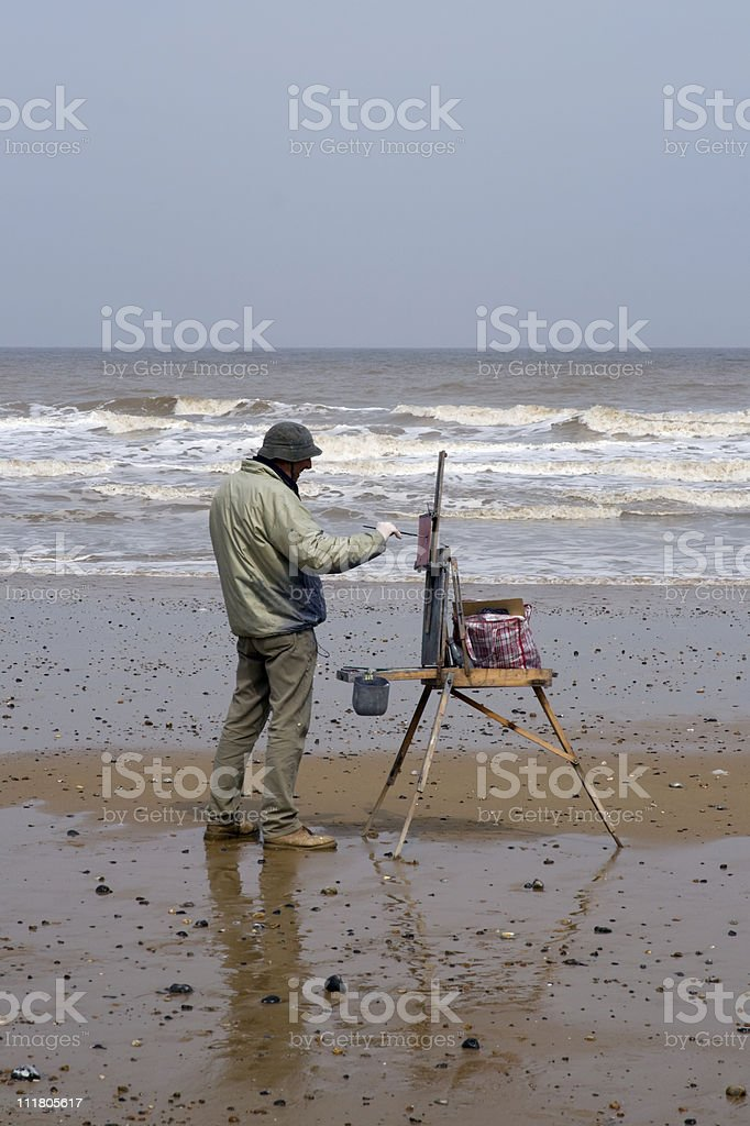 Anticipation - artist starting work on new painting royalty-free stock photo