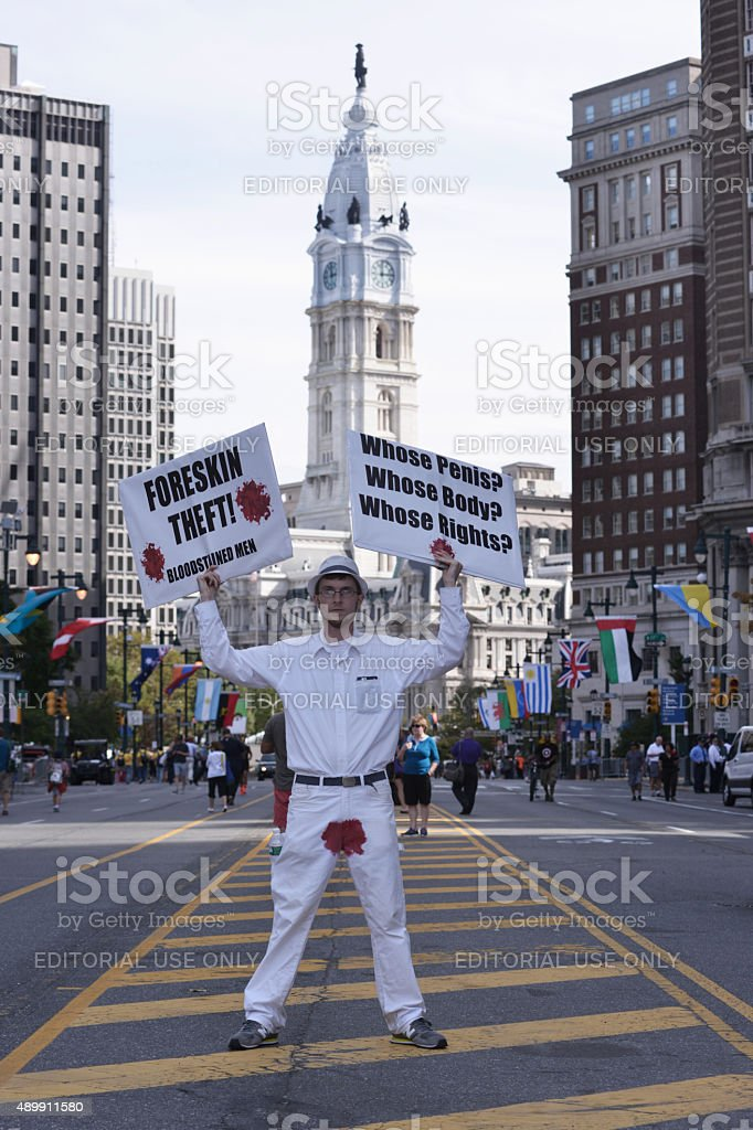 Anti-Circumsicion protestor stock photo