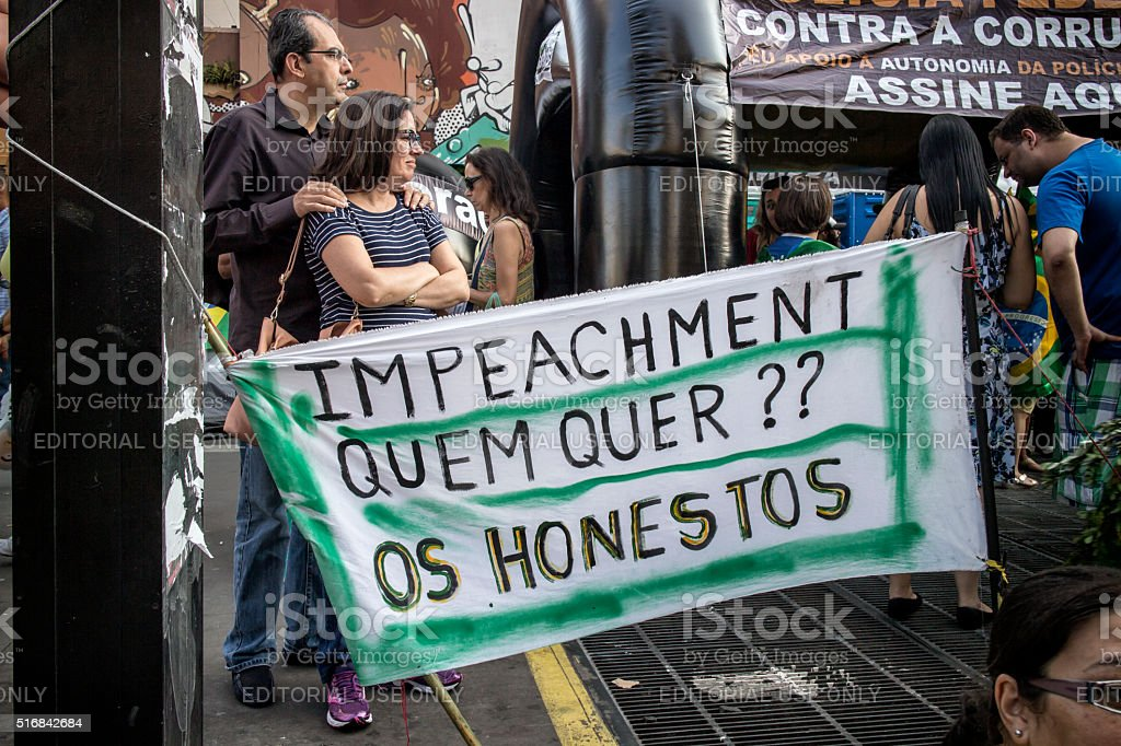 Anti-Corruption Protest Brazil stock photo