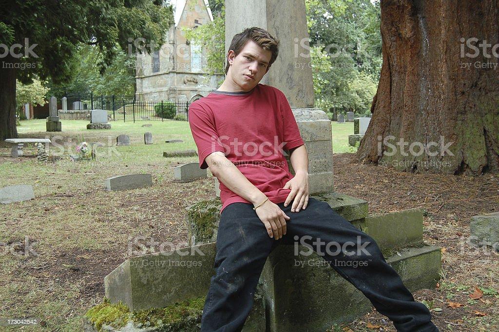 Antics at the Graveyard stock photo
