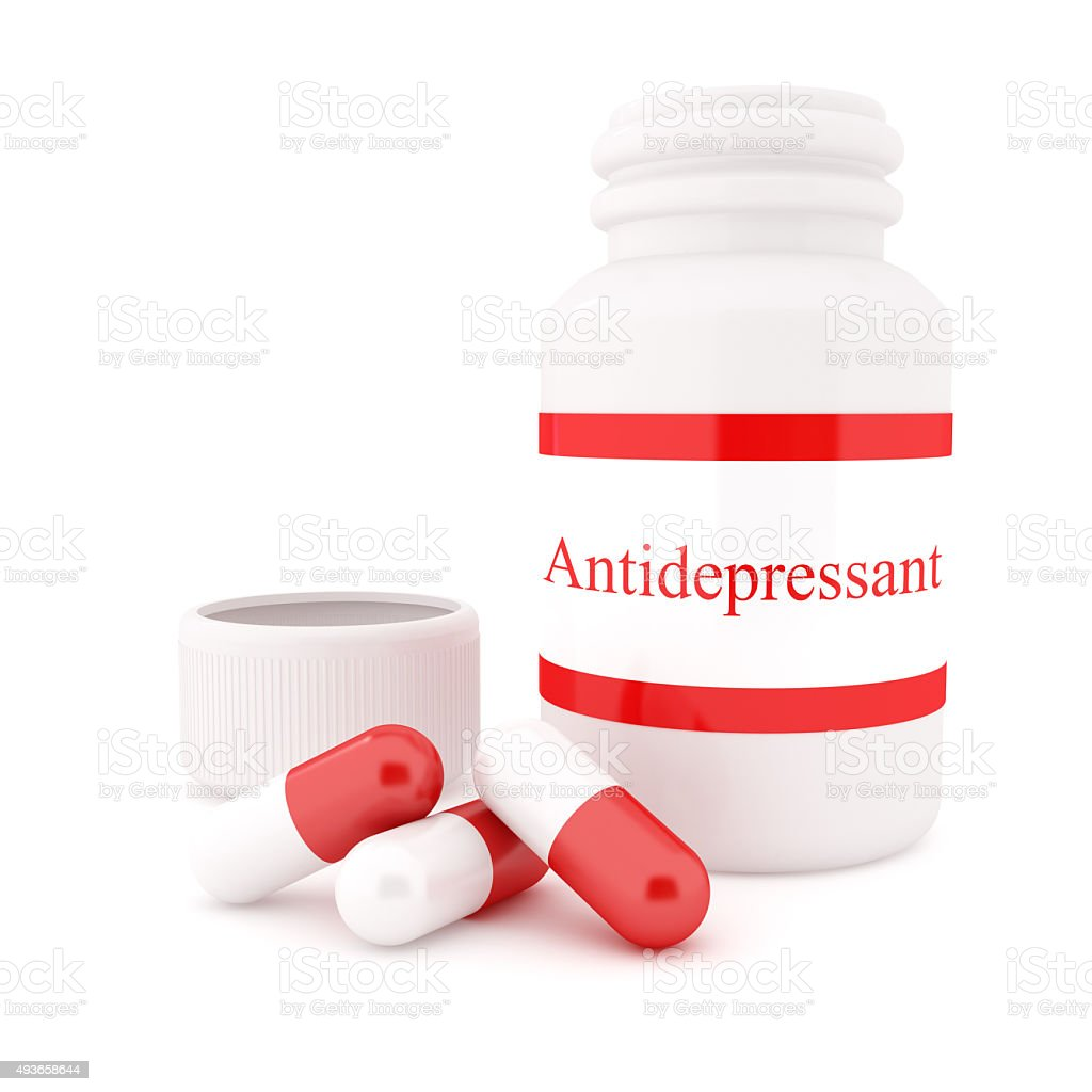 Antidepressant pill and Bottles stock photo