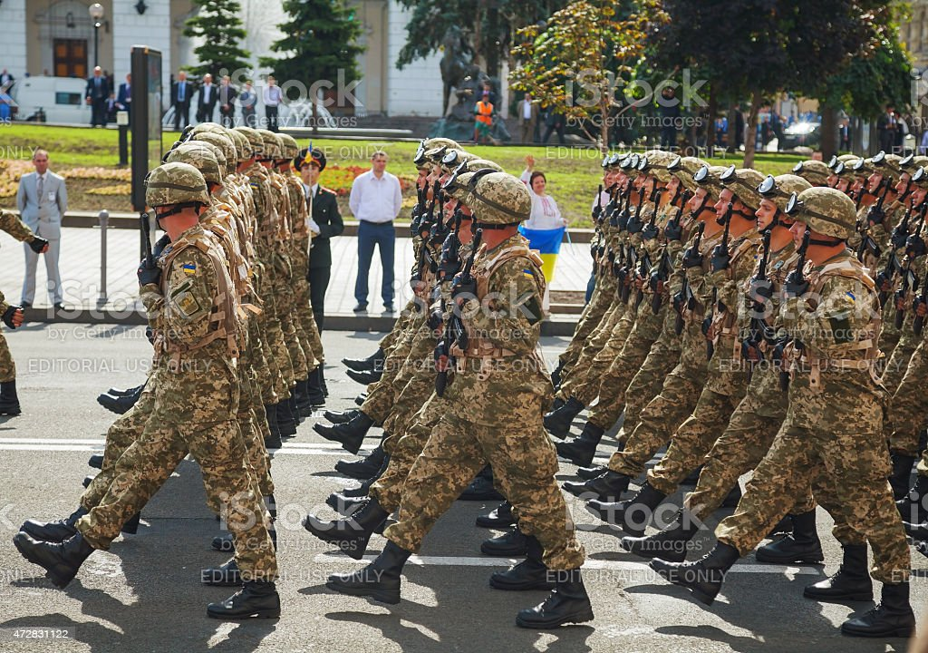 Anti-diversion squad of the Ukrainian army at the military parade stock photo