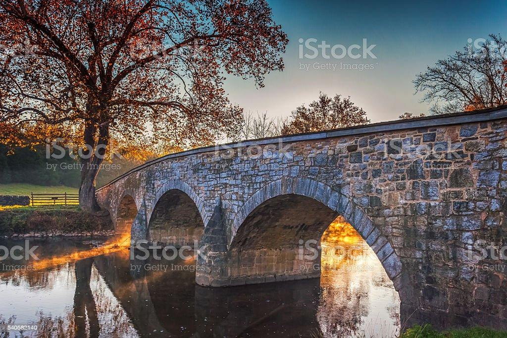 Antietam Burnside Bridge in Autumn royalty-free stock photo