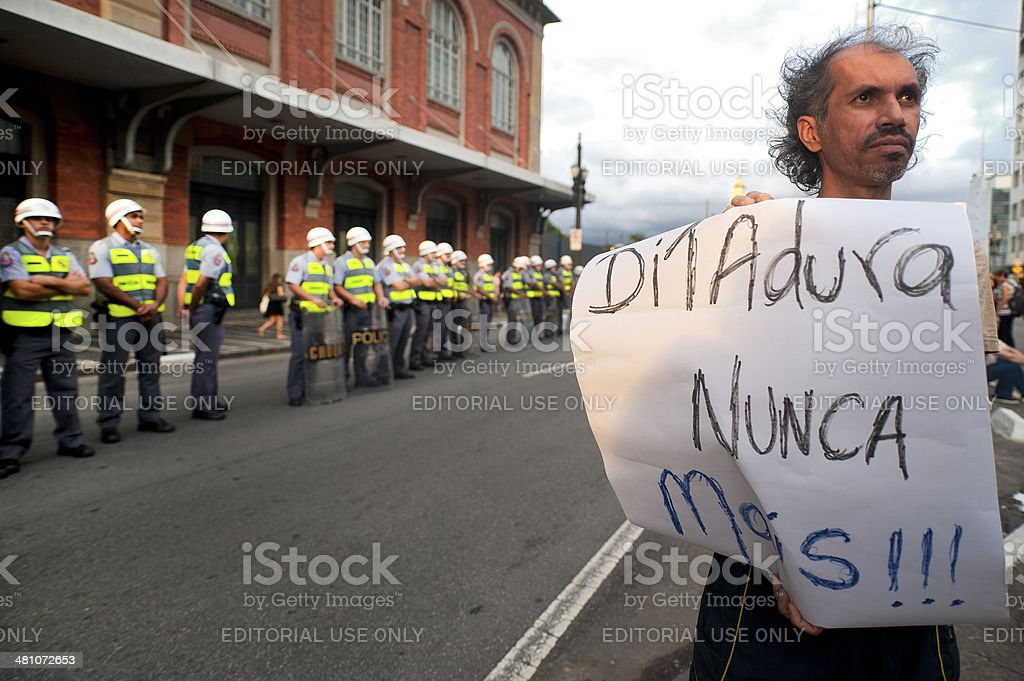 Antifascist demonstration in the city of S?o Paulo, Brazil royalty-free stock photo