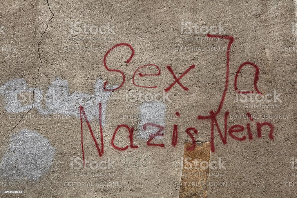 Antifascist graffiti in German language Sex Yes, Nazi No! stock photo