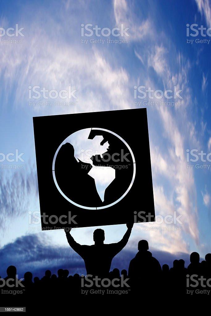 XXXL anti-globalization protestors stock photo