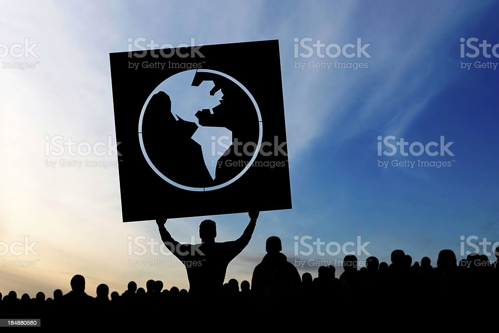 XXXL anti-globalization protestors stock photo