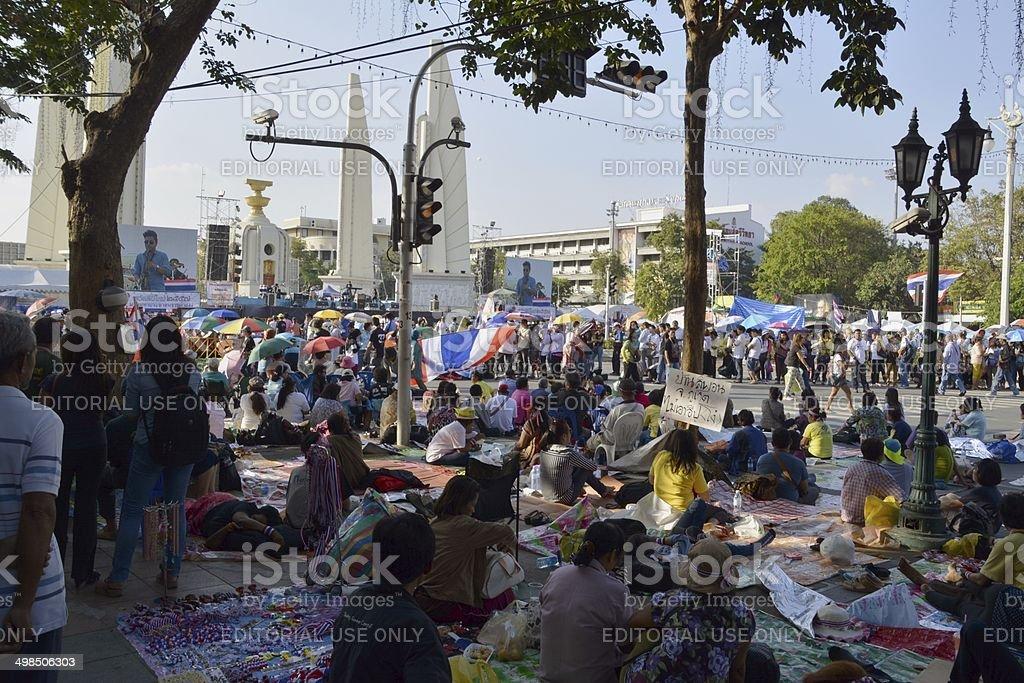 Anti-government demonstration, Bangkok - Thailand stock photo