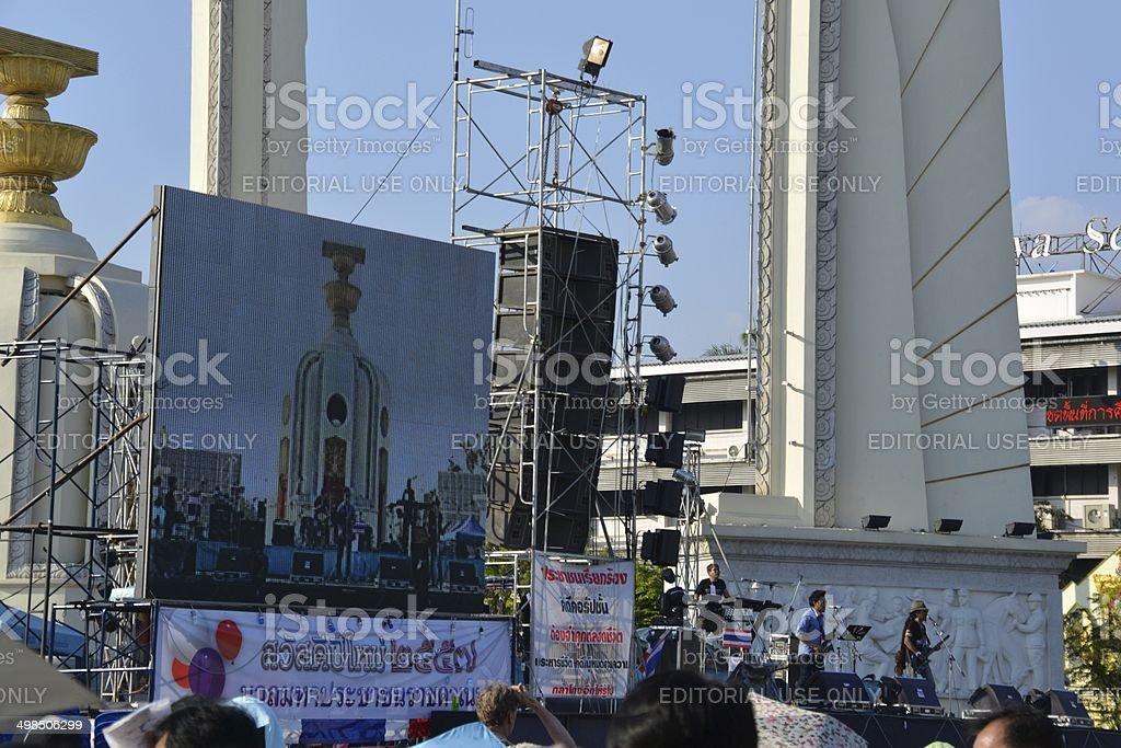 Anti-government demonstration concert, Bangkok stock photo