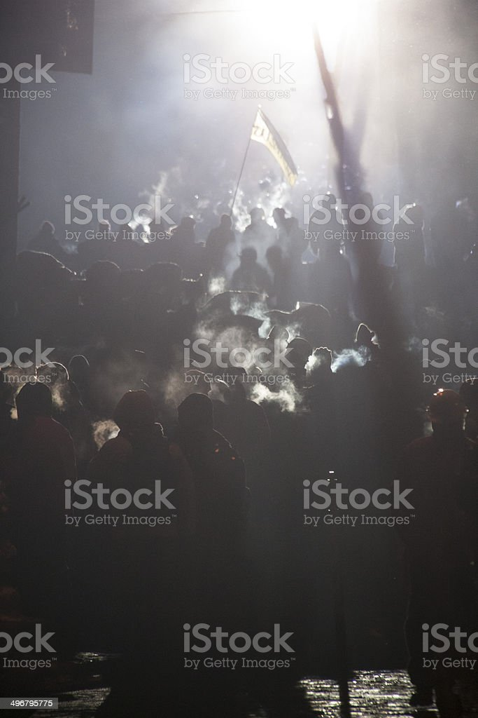 Anti-government protest in Kiev, Grushevsky, Ukraine. People defend barricades. stock photo