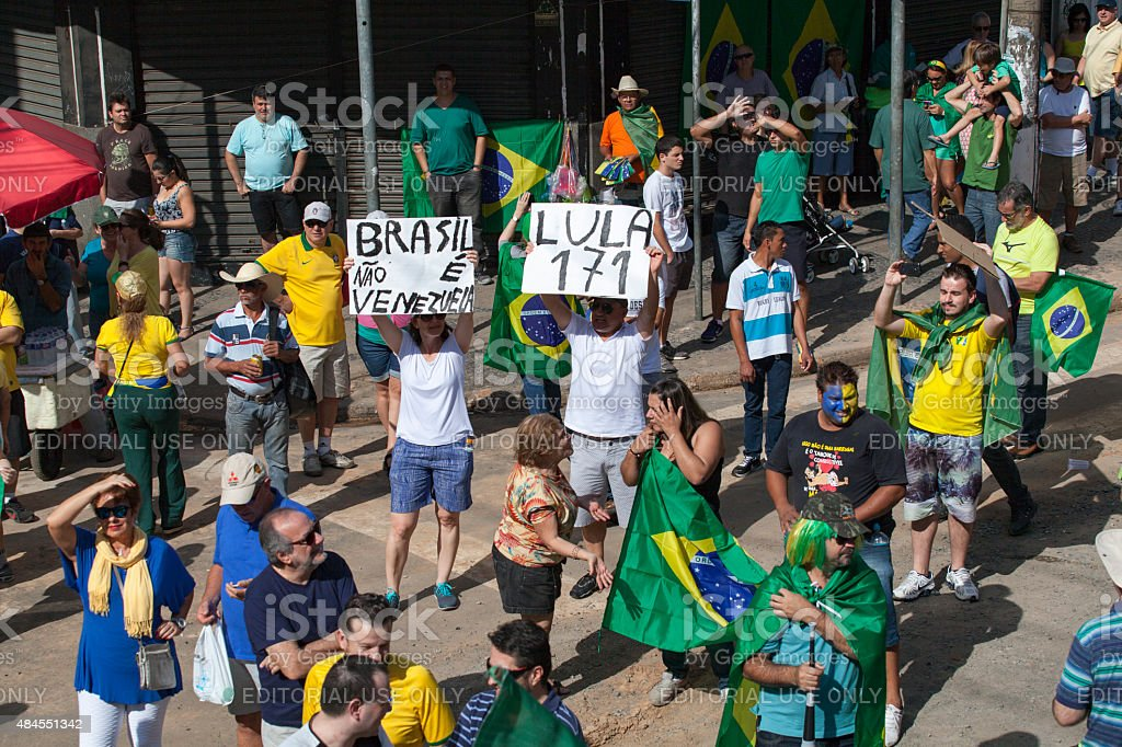 anti-government protests in Brazil stock photo