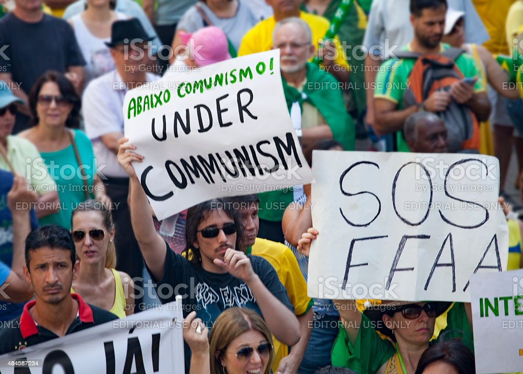 anti-government protests in Brazil stock photo