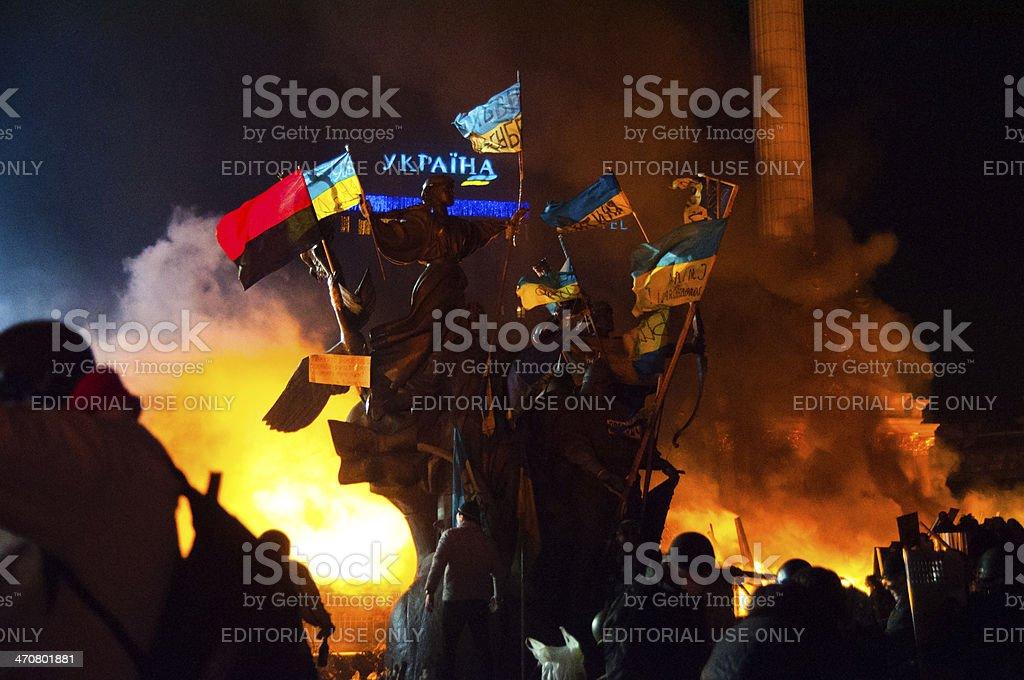 Anti-Government Riot in Kyiv Ukraine stock photo