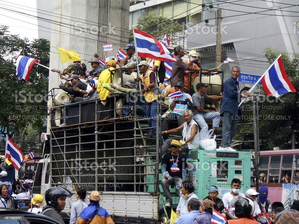 Anti-government Thai protestors in Bangkok, Thailand stock photo