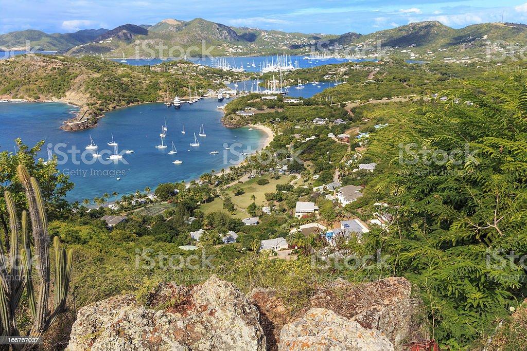 Antigua Aerial View, Falmouth Bay, English Harbour stock photo
