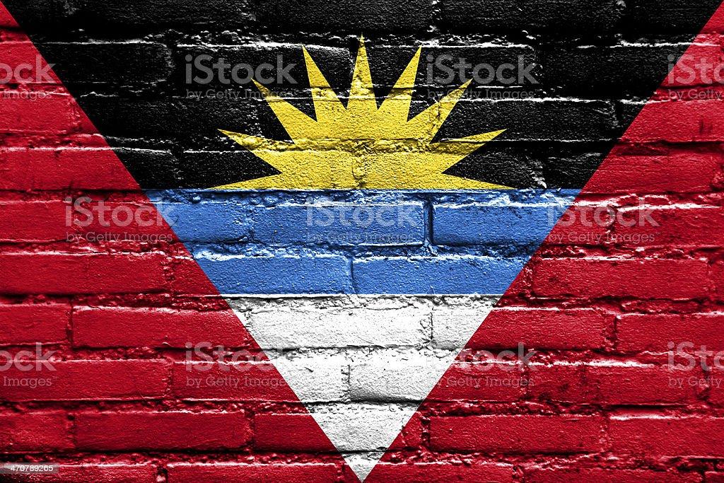 Antigua and Barbuda Flag painted on brick wall stock photo