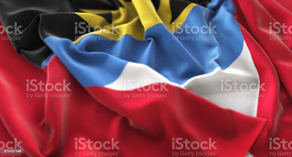 Antigua and Barbuda Flag Ruffled Beautifully Waving Macro Close-Up Shot stock photo