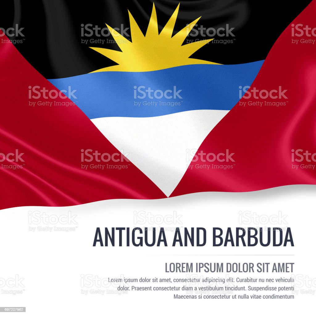 Antigua and Barbuda flag. Silky flag of Antigua and Barbuda waving on an isolated white background with the white text area for your advert message. 3D rendering. stock photo