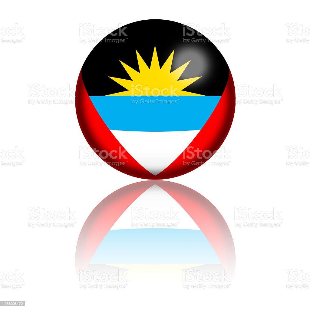 Antigua and Barbuda Flag Sphere 3D Rendering stock photo
