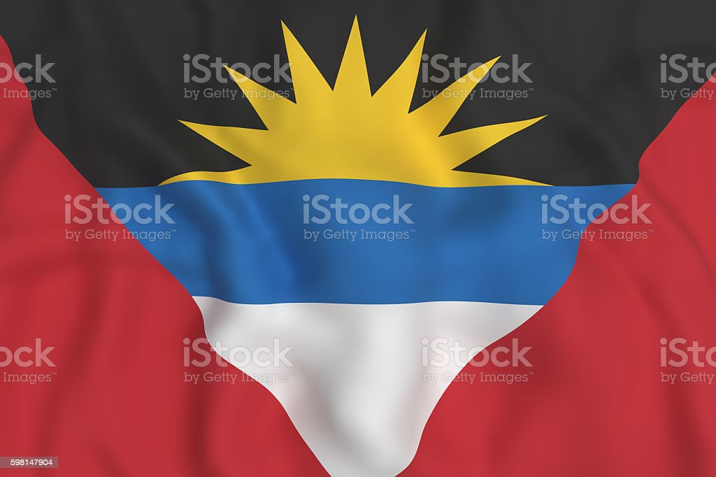 Antigua and Barbuda flag waving stock photo