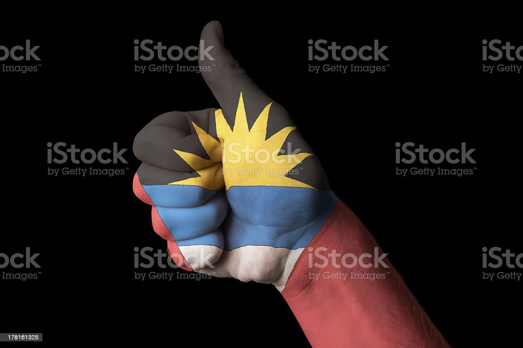 antigua barbuda national flag thumb up gesture for excellence stock photo