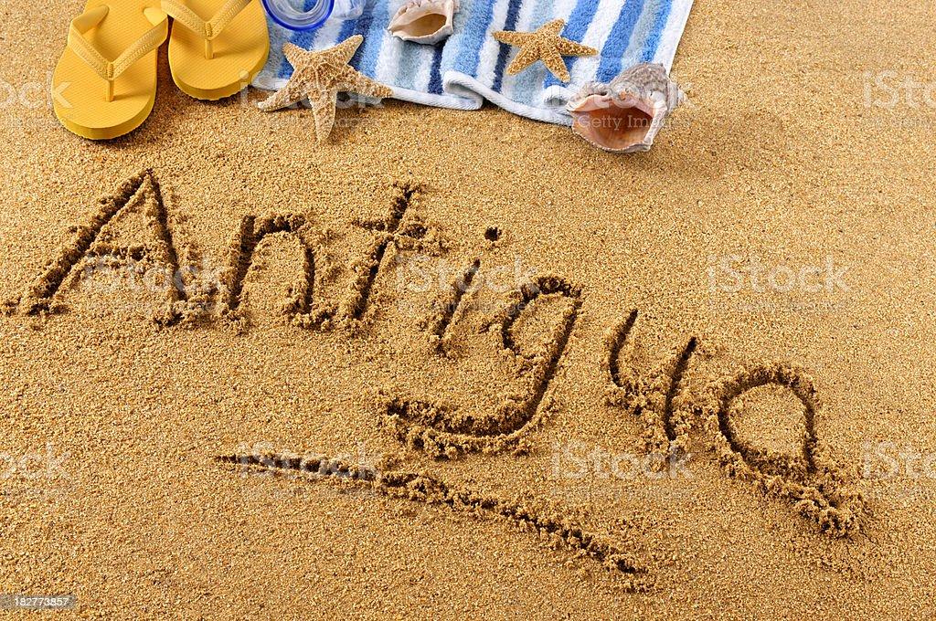 Antigua beach writing royalty-free stock photo