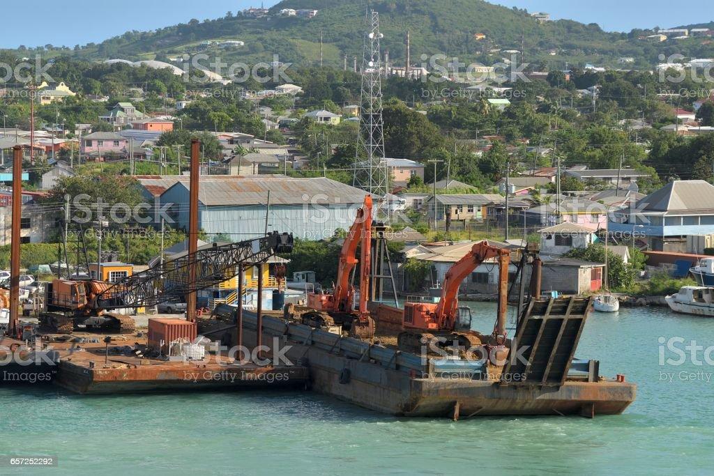 Antigua Dredge Harbor Equipment stock photo