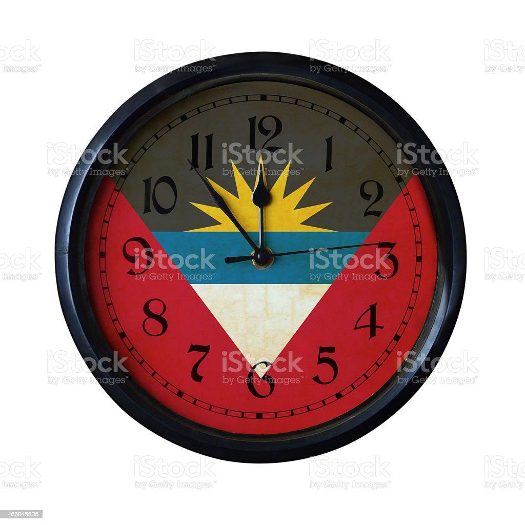 Antigua-and-Barbuda Flag Wall clock - Watch port for same series stock photo