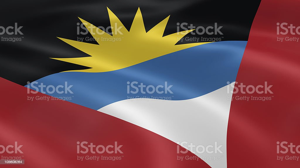 Antiguan and Barbudan flag in the wind stock photo