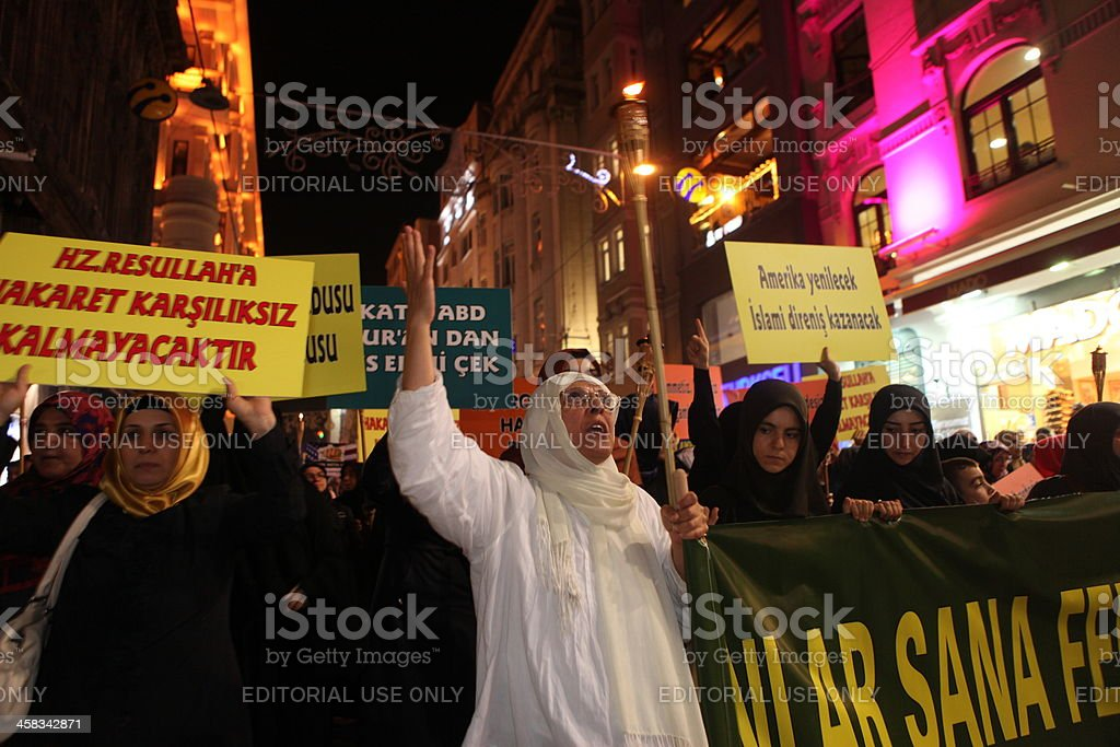 Anti-Islam film protest stock photo