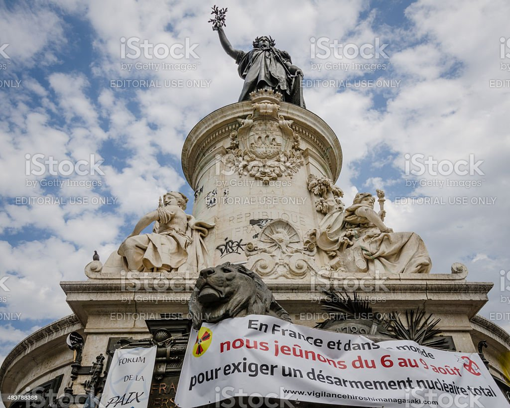 Anti-nuclear war demonstration in Paris, France stock photo