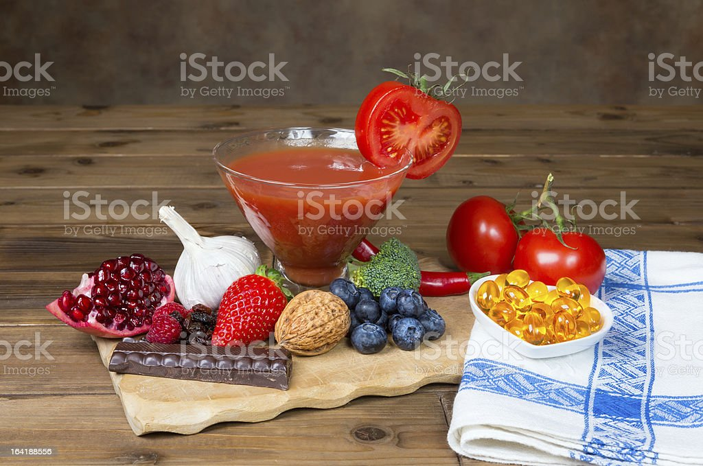 Antioxidants on the table royalty-free stock photo