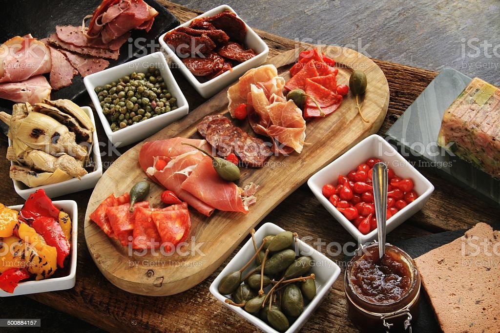 Antipasti selection platter stock photo